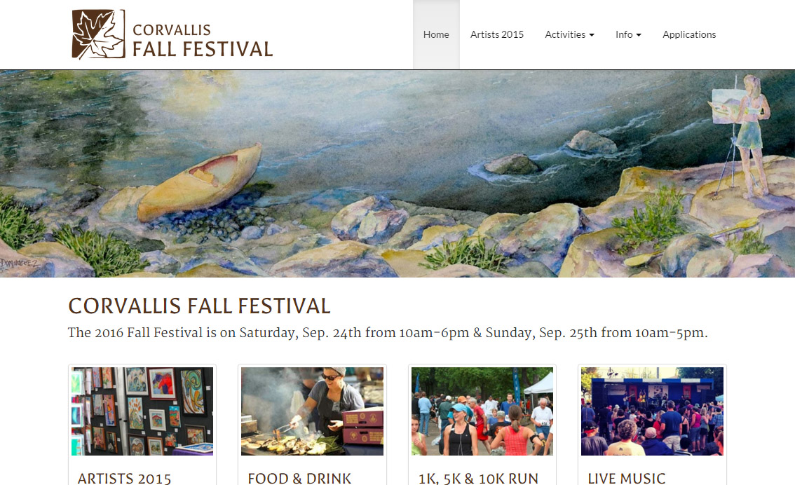 Corvallis fall festival website example